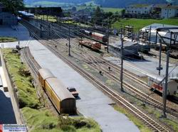 Blick auf den Güterbereich und das im Schatten liegende Bahnhofgebäude