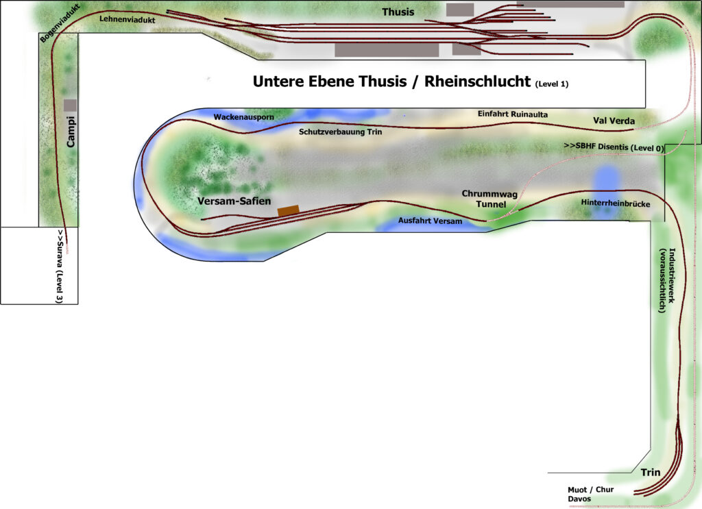 Gleisplan Albulamodell untere Ebene